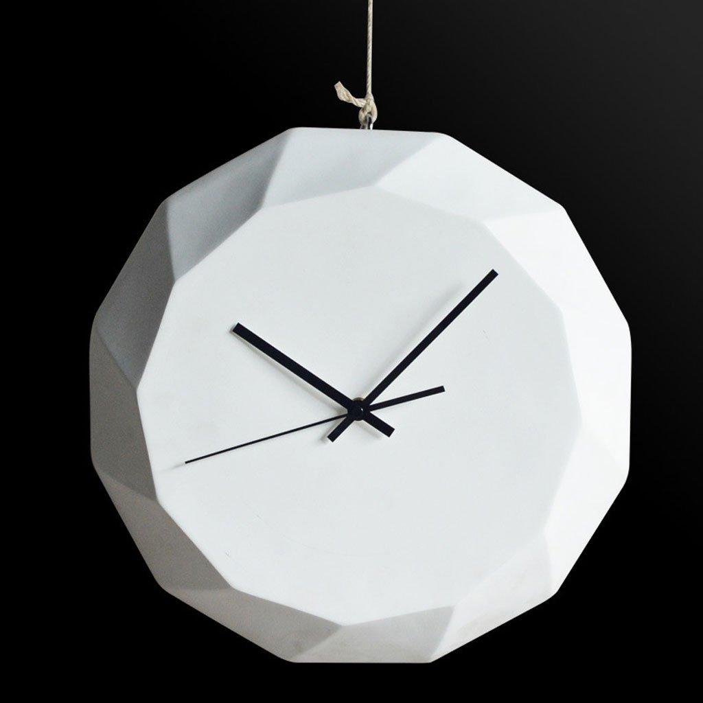 幾何学形状の壁時計クリエイティブモデリング白い環境保護セメントの壁時計のホームアクセサリー ( Color : White ) B07CPLNVXT White White
