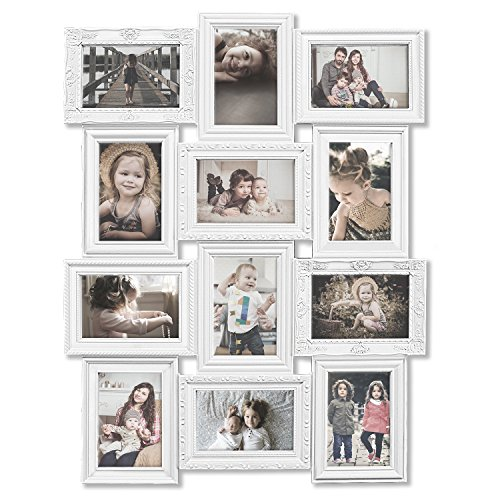 Hello Laura - Photo Frame White Curved Classic European Style 12 Opening 27
