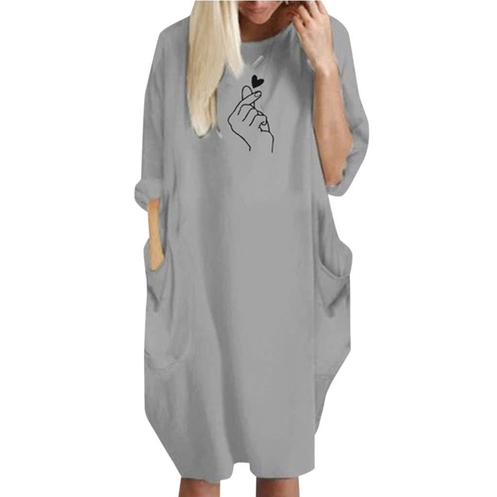 Women T Shirt Pocket Midi Dress Summer Casual Long Sleeve Boatneck Knee-Length Solid Color Loose Beach Dresses