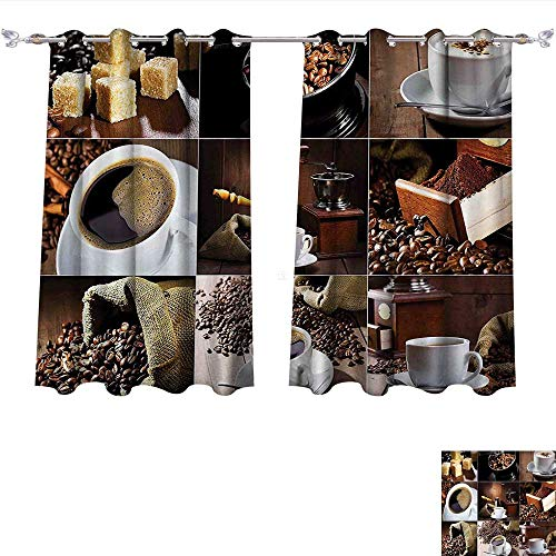 Peach Coffee Grinder (Room Darkening Thermal Insulated Kitchen Different Photos of Coffee Mugs and Roasted Bean Bags Grinder Sugarcubes Collage Brown White Blackout Curtain for Living Room (W63 x L72 -Inch 2 Panels))