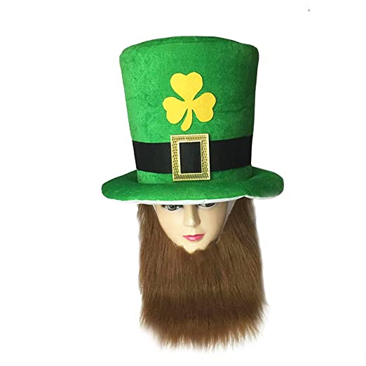 f4261465a Amazon.com: Gdaya St. Patricks Day Costume Green Leprechaun Top Hat with  Bead: Clothing