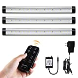 Albrillo 900lm Dimmable LED Under Cabinet Lighting with Remote Control and Timer Under Counter Lights for Kitchen Closet Shelf, Warm White 3000K 3 PCS