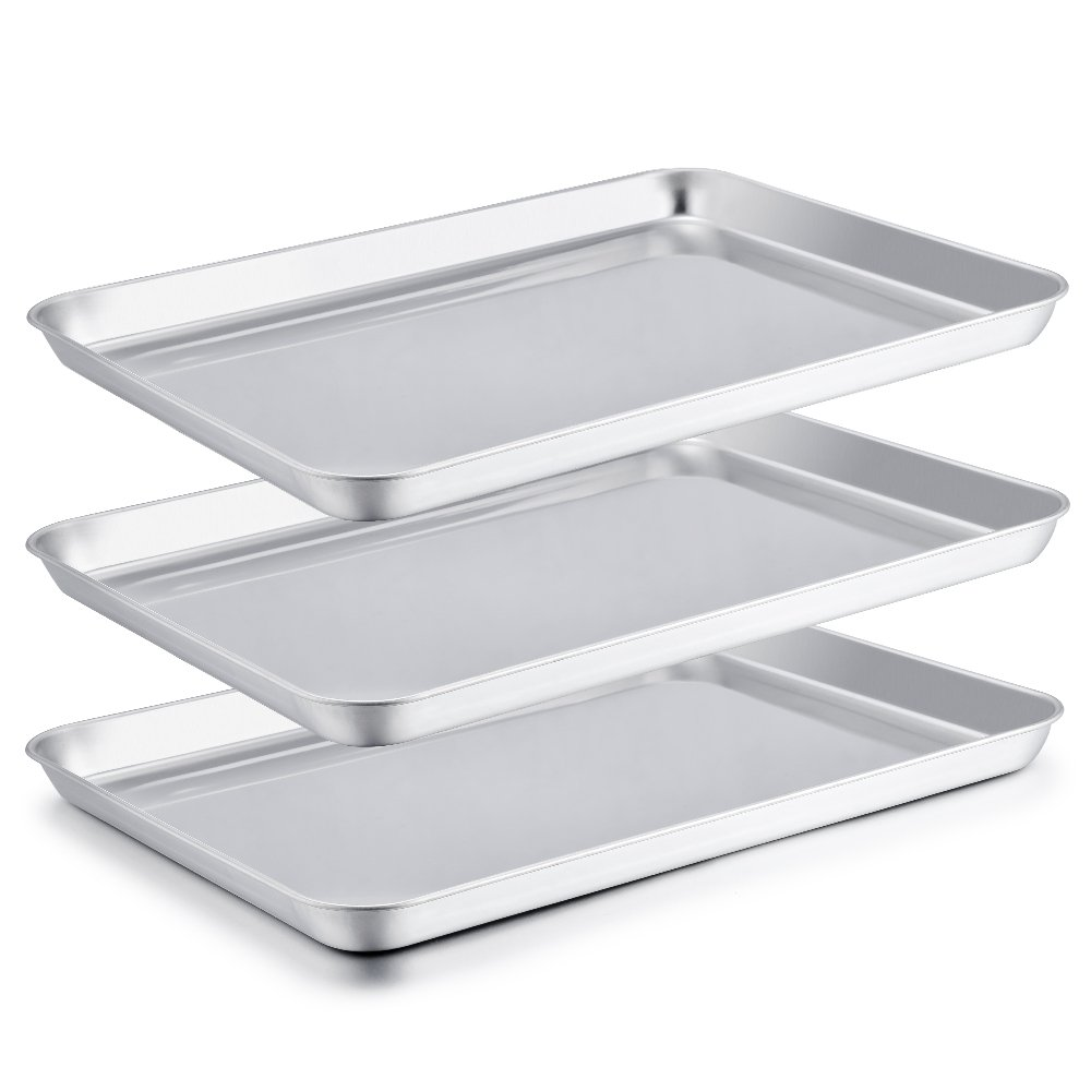 Large Baking Sheet, P&P Chef Stainless Steel Cookie Sheet Baking Pan Tray, Rust Free & Dishwasher Safe, Healthy & Non Toxic, Mirror Finish & Easy Clean