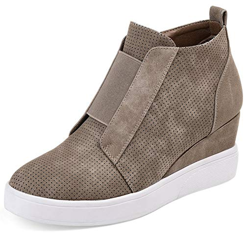 Taupe Femme Mode Baskets Poplover Pour RUnX0xP
