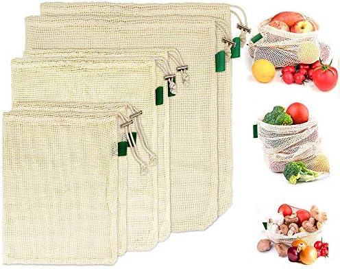 BUZIFU 6pcs Bolsas Reutilizables Compra, Bolsas de Algodón de Malla Súper Elástico y Transpirabilidad, Bolsa de Rejilla Compras para Guardar o Poner Todo lo que quieras, Verduras Frutas Nueces(S/M/L): Amazon.es: Hogar
