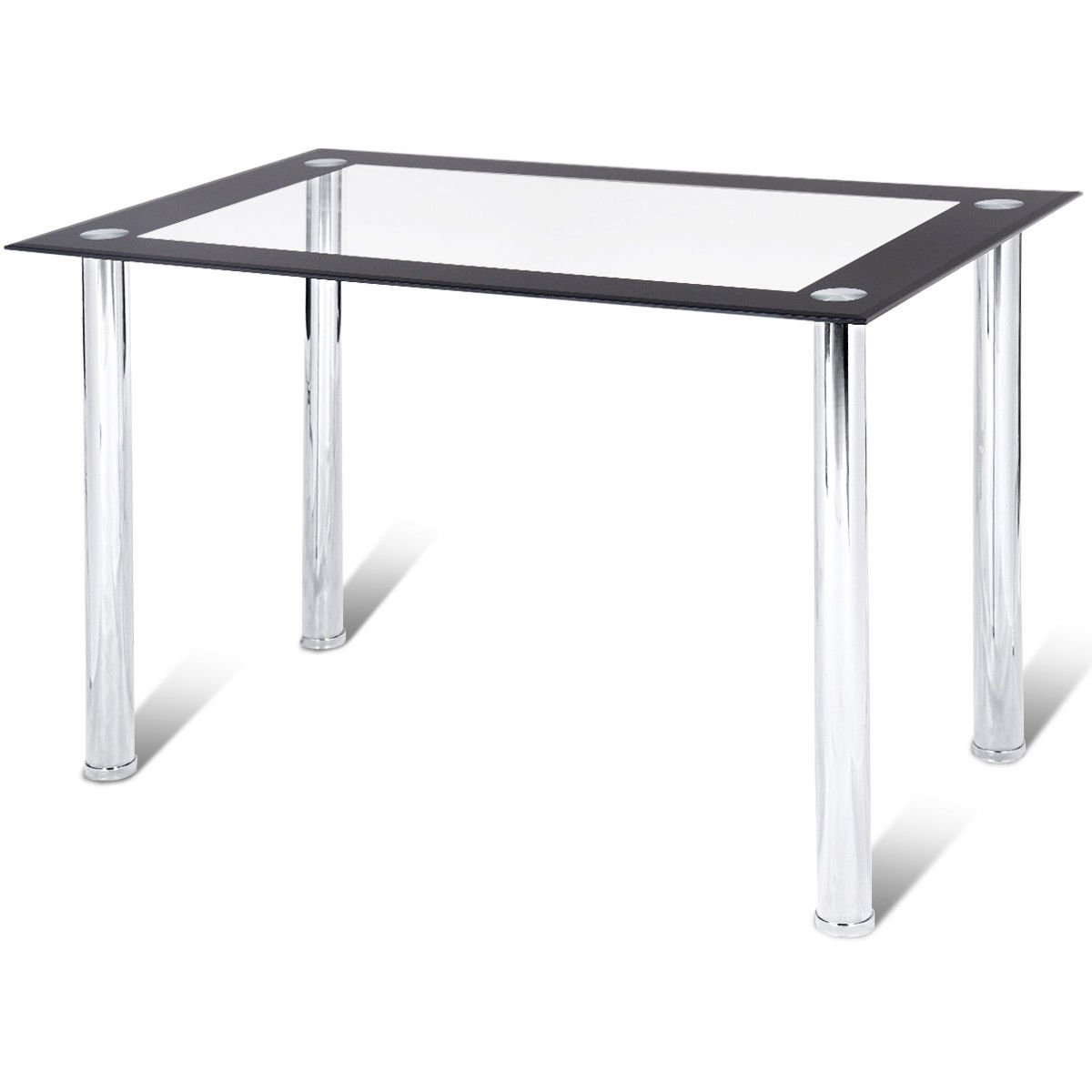 Tangkula Dining Table Modern Leisure Home Kitchen Glass Top Tea Table Office Conference Pedestal Desk