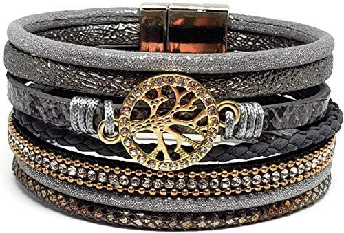 Pelican Sunwear Tree of Life Bohemian Wrap Woman Bracelet with Magnetic Clasp Closure & Free Jewelry Pouch - Leather and Crystal Multi-Layer Wide (Grey) ()