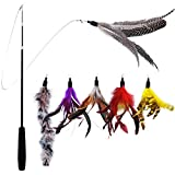 VOGADA Cat Teaser Cat Feather Wand, Retractable Cat Toy, Cat Interactive Charmer with Feather Refills for Cat and Kitten