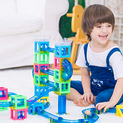 Magnetic Blocks with Marble Run Set Game - 63pcs Marble Maze Race Track Learning Toy for Kids, Construction Child Education Track Building Blocks (Storage Bag and Guidebook Include) by Gamenote (Image #1)