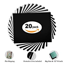 "Heat Transfer Vinyl Black and White HTV Bundle 30x38cm of 20 Sheets fro T-shirts, 12x15"" Iron On Vinyl Sheets Starter Kit for Silhouette Cameo& Cricut machine,Heat Press machine Tool"
