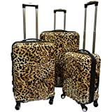 Brown Cheetah Theme Rolling Upright Spinner Wheeling Suitcase 3-Piece Set, African Leopard Themed, Exotic Safari Jungle Zoo Wild Animal Print, Travel Luggage with Wheels, Fashionable, For Unisex
