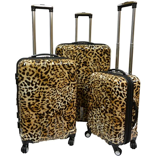 Brown Cheetah Theme Rolling Upright Spinner Wheeling Suitcase 3-Piece Set, African Leopard Themed, Exotic Safari Jungle Zoo Wild Animal Print, Travel Luggage with Wheels, Fashionable, For Unisex by S & E