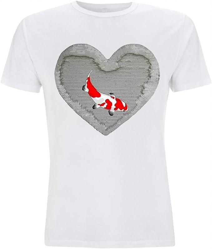 Camiseta Reversible de Lentejuelas de Pescado de koi, Rojo y Blanco de NISHIKIGOI de Carpas de CyPRINUS CARPIO de Animales de TEICH para Hombre Mujer de niño y niña Blanco/Blanco S: Amazon.es: