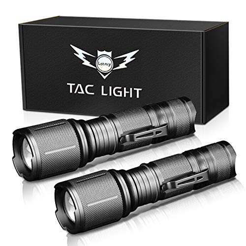 LETMY LED Tactical Flashlight, Brightest 2000 Lumen XML T6 LED Flashlights With 5 Modes, Zoomable and Water Resistant for Camping Biking Hiking Home Emergency, 2 Pack