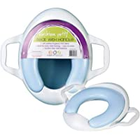 Roger Armstrong Cushion Potty Toilet Seat with Handles, White/Blue,