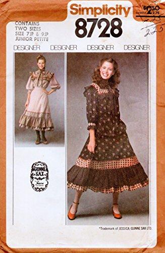 Designer Simplicity 8728 Misses 2 Piece Dress Gunne Sax Vintage Sewing Pattern Size Junior Petite 7jp & 9jp Bust 32 & (Vintage Gunne Sax)