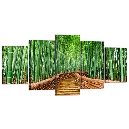 Kreative Arts XLarge 5 Piece Bamboo Path Canvas Prints Contemporary Art Modern Wall Decor Nature Pictures Giclee Canvas Artwork HD Photography for Living Room Office Decorations -