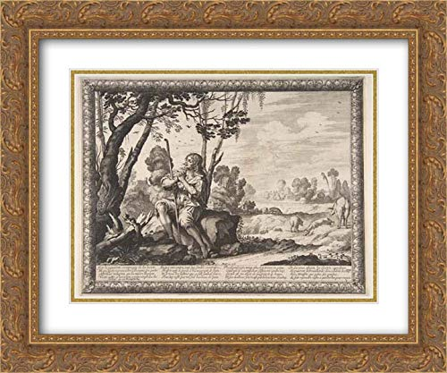Abraham Bosse - 24x20 Gold Ornate Frame and Double Matted Museum Art Print - The Prodigal Son Guarding Pigs