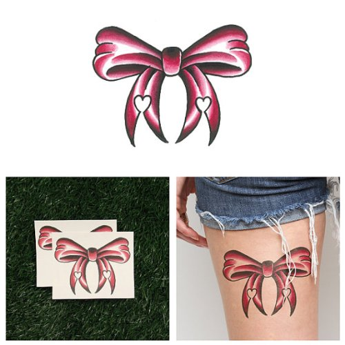 [Pink Ribbon Bow Temporary Tattoo (Set of 2)] (Custom Costumes Makers Los Angeles)