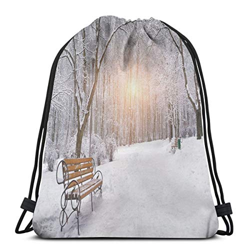 2019 Funny Printed Drawstring Backpacks Bags,Snow Covered Leafless Trees And Benches In The City Park Sunset Woodland Outdoors,Adjustable String Closure]()