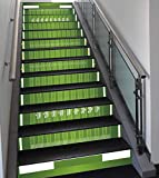 Stair Stickers Wall Stickers,13 PCS Self-adhesive,Football,Sports Field in Green Gridiron Yard Competitive Games College Teamwork Superbowl,Green White,Stair Riser Decal for Living Room, Hall, Kids Ro
