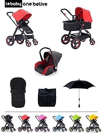 Cochecito de Bebe 3 en 1 Ibaby One BELIVE Color Red (Silla + Capazo + Grupo 0 + Saco + Bolso + Sombrilla) CHASIS COLOR PLATA: Amazon.es: Bebé