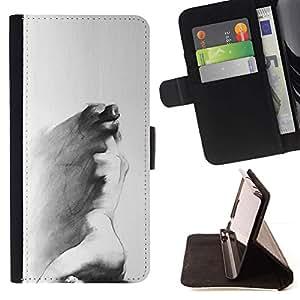 Momo Phone Case / Flip Funda de Cuero Case Cover - Carbón Arte Pintura triste gris - LG G3