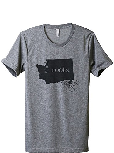 Thread Tank Home Roots State Washington WA Men's Modern Fit T-Shirt Printed Graphic Tee Heather Grey Medium (Evergreen Polyester Thread)