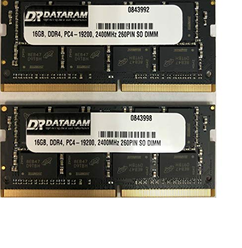 DATARAM 32GB Memory RAM Upgrade (2 x 16GB) DDR4 2400Mhz PC4-19200 CL17 SO DIMM Compatible with The Apple 2017 iMac 21.5