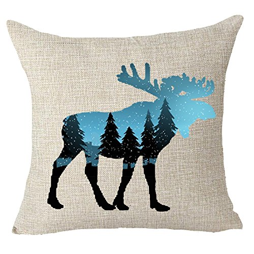 Merry Christmas forest pine tree animal elk moose bear red hat snowflake Throw Pillow Cover Cushion Case Cotton Linen Material Decorative 18