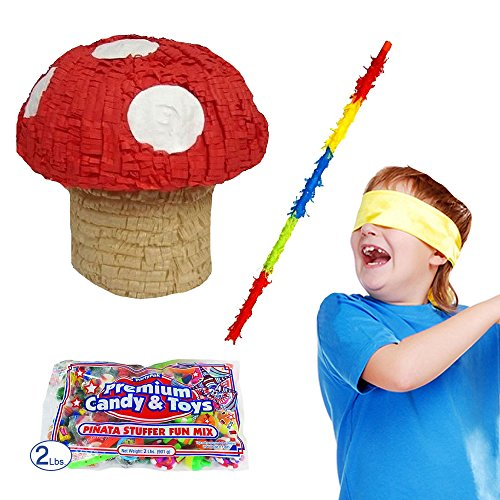 Mushroom Pinata Kit Including Pinata, Buster Stick, Bandana and 2 lbs. Candy Filler (Mario Star Pinata)