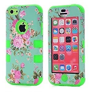 PEACH Orchid Hybrid 3 in 1 Dual Color TPU Rubber Hard Back Cover for iPhone 5/5C , Black