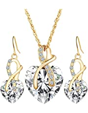 Gold color plated set for women ring earrings and necklace adorned with crystal and pearl big heart shape,white