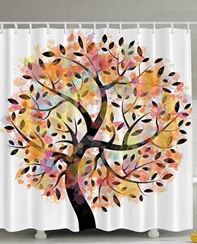 Fabric Shower Curtain Tree Decor by Ambesonne, Colorful Spring Tree Leaves of Life Abstract Painting Pastoral Style Shades Style Bathroom Accessories Branches Yellow Orange Coral Green Black White