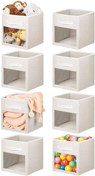 mDesign Soft Fabric Closet Storage Organizer Cube Bin Box, Clear Window and Handle - for Child/Kids Room, Nursery, Playroom, Furniture Units, Shelf, 8 Pack - Cream/White