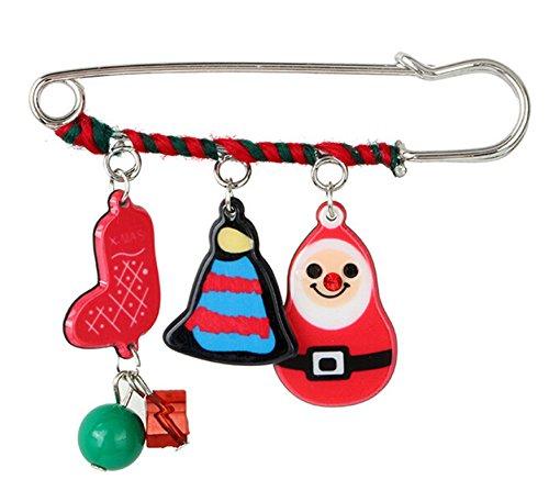 Epinki Women Christmas Socks Bell Santa Brooch Pin Christmas Decoration Colorful Cubic Zirconia