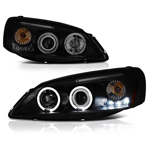 VIPMOTOZ For 2005-2010 Pontiac G6 Off-Road Smoke Lens Halo Headlights Headlamps, Driver and Passenger Side (Headlight Kit Smoked Coupe)