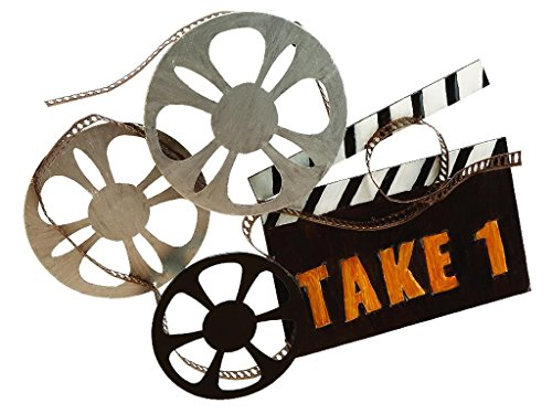Deco 79 Rustic Movie Reel and Clapperboard Metal Wall Decor, 19