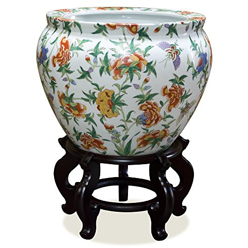 ChinaFurnitureOnline Porcelain Planter, 16in Hand Painted Flower Design Fishbowl