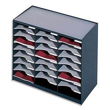 Trieur 24 cases noir gris pour document A4 - Dimentions d'une case L 22 x H 5 -8 x P 29 -7