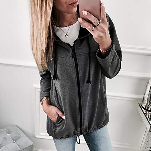 Foncé Manteau Liquidation Hiver Sweat Veste Capuche Vente Top Mode Gris Shobdw Automne Zipper À Manches Longues Outwear Femmes HnqdCxT