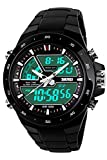Digital Analog Sport Watch Dual Time 5ATM Waterproof Fashion Big Face Wrist Watch On Sales Black