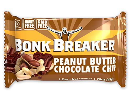 Bonk Breaker Energy Bar, Peanut Butter & Chocolate Chip, 1.76 Oz (12 Count), Gluten Free & Dairy Free ()