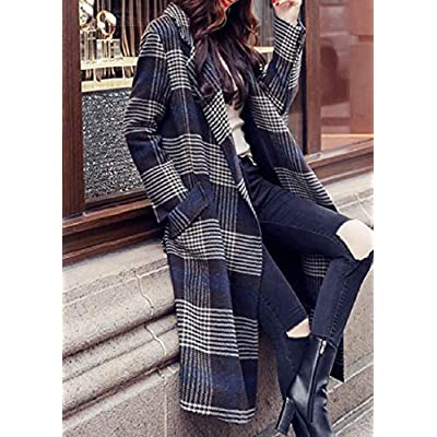 Andopa Lana Moda Zanja Cascada chaqueta de cuello a cuadros Chaquetón para Mujeres: Ropa y accesorios