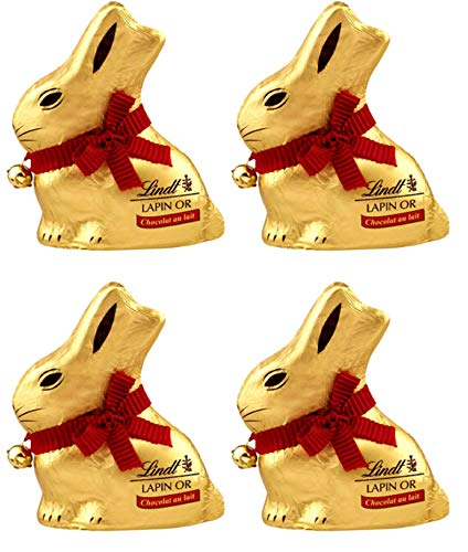 Lindt Milk Chocolate GOLD BUNNY, 3.5 Ounce, 100 g, Pack of 4