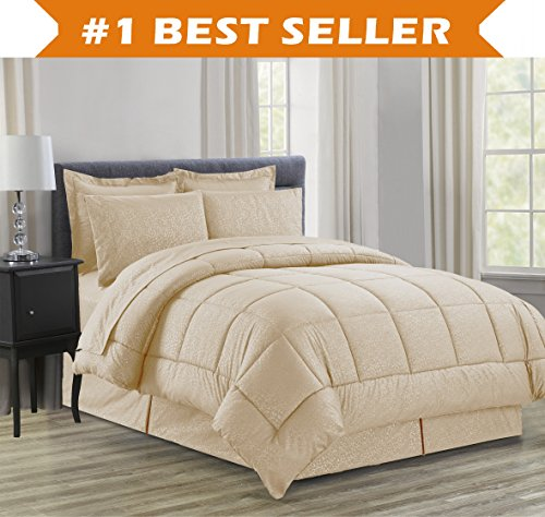 Luxury Bed-in-a-Bag Comforter Set on Amazon! elegant ease Wrinkle protection - Silky softer attractive pattern total Bed-in-a-Bag 8-Piece Comforter Set -HypoAllergenic- King Mocha