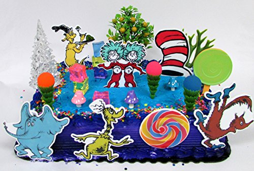 Dr. Seuss Themed Deluxe Birthday Cake Topper Set Featuring Various Characters and Decorative Themed Accessories -