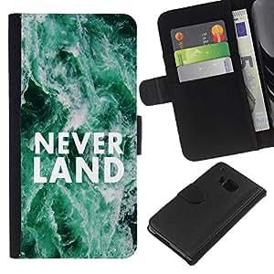 HTC One M7 , la tarjeta de Crédito Slots PU Funda de cuero Monedero caso cubierta de piel ( Neverland Dreams Fairytale Quote Hope)