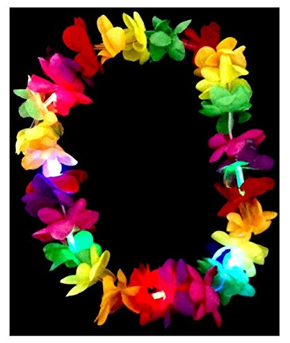 - Led Light Up Flashing Hawaiian Lei Floral Necklace