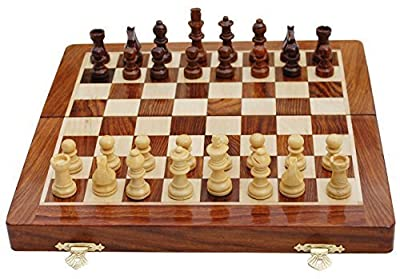 Benzara BM174943 Handmade Magnetic Rosewood Folding Board Chess Set with Storage for Chessmen, Brown